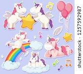 set of unicorn character... | Shutterstock .eps vector #1257592987