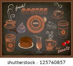 coffee and sweets ads  ... | Shutterstock .eps vector #125760857