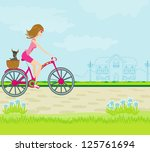 happy driving bike with cute... | Shutterstock .eps vector #125761694