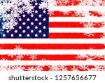 usa flag snowflake background | Shutterstock . vector #1257656677