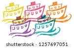 cute rainbow color set... | Shutterstock .eps vector #1257697051