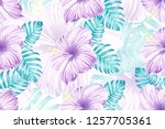 tropical pattern. pink blue... | Shutterstock .eps vector #1257705361