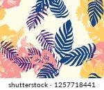 tropical background. green ... | Shutterstock .eps vector #1257718441