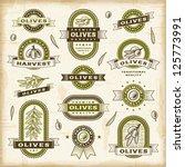 vintage olive labels set.... | Shutterstock .eps vector #125773991