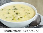 bowl of broccoli and cheddar... | Shutterstock . vector #125775377