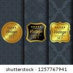 golden vintage pattern on dark...   Shutterstock .eps vector #1257767941