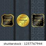 golden vintage pattern on dark... | Shutterstock .eps vector #1257767944