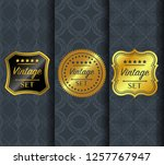 golden vintage pattern on dark... | Shutterstock .eps vector #1257767947