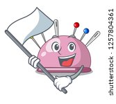 with flag pincushion a cartoon... | Shutterstock .eps vector #1257804361
