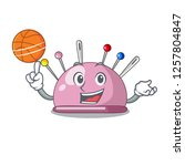 with basketball wicker basket... | Shutterstock .eps vector #1257804847
