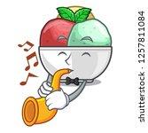 with trumpet scoops of sorbet...   Shutterstock .eps vector #1257811084