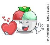 with heart scoops of sorbet in...   Shutterstock .eps vector #1257811087