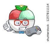 gamer scoops of sorbet in...   Shutterstock .eps vector #1257811114