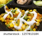 vegetables salad with mayonaise ... | Shutterstock . vector #1257813184