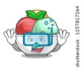 diving sorbet with mint bowl on ...   Shutterstock .eps vector #1257817264