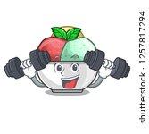 fitness sorbet ice cream in cup ...   Shutterstock .eps vector #1257817294