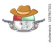 cowboy sorbet ice cream in cup...   Shutterstock .eps vector #1257817321