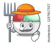 farmer sorbet ice cream in cup...   Shutterstock .eps vector #1257817327