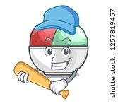 playing baseball sorbet ice...   Shutterstock .eps vector #1257819457