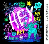 hey lettering t shirt design ... | Shutterstock .eps vector #1257859111