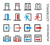 entrance and exit icon set... | Shutterstock .eps vector #1257859921