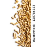 Wooden pellets -bio fuel on white background. - stock photo