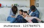 portrait of happy family having ... | Shutterstock . vector #1257869071