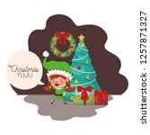 elf woman with christmas tree... | Shutterstock .eps vector #1257871327