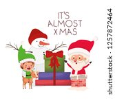 santa claus and elf with... | Shutterstock .eps vector #1257872464