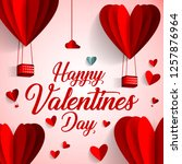 happy valentines day typography ... | Shutterstock .eps vector #1257876964