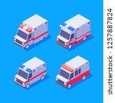 isometric ambulance set. vector ... | Shutterstock .eps vector #1257887824