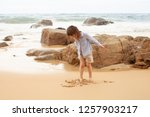the concept of a beach holiday... | Shutterstock . vector #1257903217