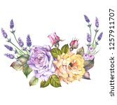 watercolor roses with lavender.   Shutterstock . vector #1257911707