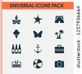 summer icons set with camera ... | Shutterstock . vector #1257936664