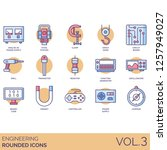 engineering icons including... | Shutterstock .eps vector #1257949027
