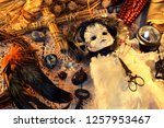 voodoo doll in bride dress with ... | Shutterstock . vector #1257953467