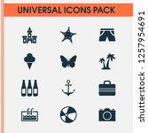 summer icons set with camera ... | Shutterstock .eps vector #1257954691