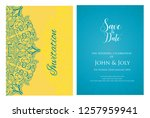 invitation or wedding card with ... | Shutterstock .eps vector #1257959941