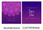 invitation or wedding card with ... | Shutterstock .eps vector #1257959944