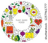 plant based food linear concept ... | Shutterstock .eps vector #1257961777