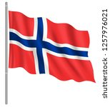 flag of norway with flag pole... | Shutterstock .eps vector #1257976021
