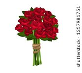 Stock vector bunch of bright red roses roses isolated on white background vector roses flower for you 1257981751