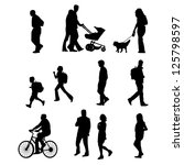 people walking | Shutterstock .eps vector #125798597
