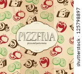 Pizzeria menu design with food icons background for your design