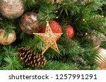 christmas tree background   Shutterstock . vector #1257991291