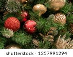 christmas tree background   Shutterstock . vector #1257991294