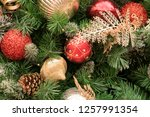 christmas tree background | Shutterstock . vector #1257991354