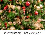 christmas tree background | Shutterstock . vector #1257991357