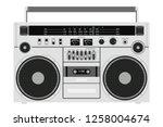 vector old cassette recorder... | Shutterstock .eps vector #1258004674