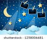 surreal cloudscape by night... | Shutterstock .eps vector #1258006681